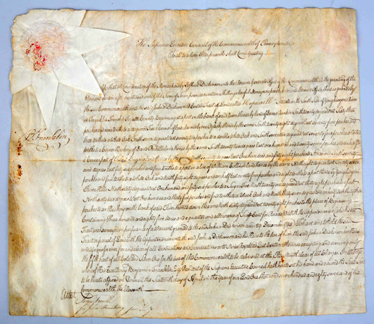 Spence-authenticated 1787 land deed signed by Benjamin Franklin, $13,200. Morphy Auctions image.