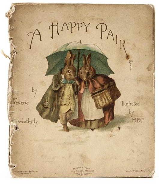 'A Happy Pair,' Beatrix Potter's first illustrated book, 1890. Estimate: £12,000-£16,000. Bloomsbury image.