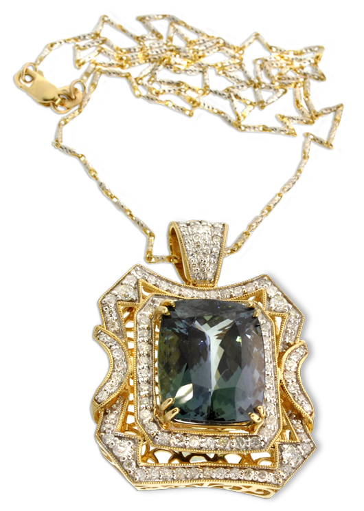 14K gold 15.49 carat cushion rectangular cut natural zoisite and diamond pendant with chain. Appraisal value $26,700. Government Auction image.