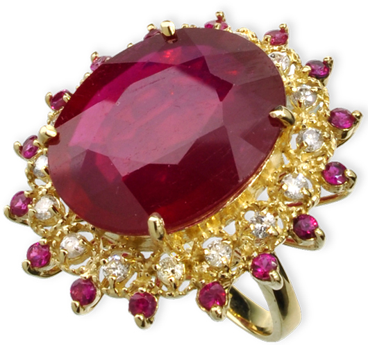 14K gold 22.30 carat ruby and diamond ring. Appraisal value $31,600. Government Auction image.