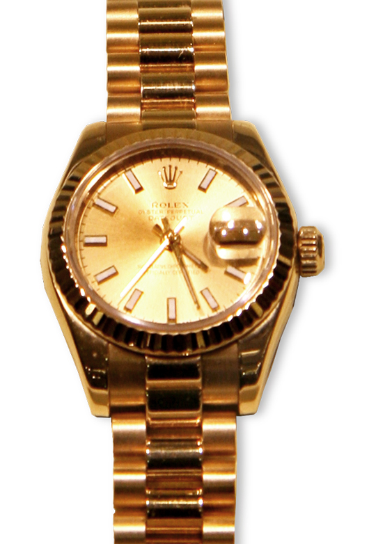 Rolex Ladies President wristwatch with original box and papers. Government Auction image.