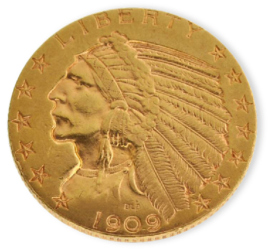 1909-D $5 US Indian Head-type gold coin. Government Auction image.