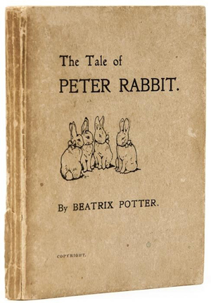 'The Tale of Peter Rabbit, first, private printing, 1901. Estimate: £20,000-£30,000. Bloomsbury image.