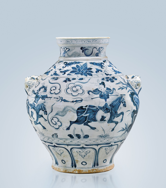 Magnificent and highly important 14th-century Yuan Dynasty blue and white ovoid porcelain jar with narrative scene from the Yuan zaju drama 'The Savior Yuchi Gong.' Estimate upon request. I.M. Chait image.