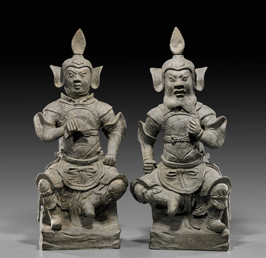 Pair of Song Dynasty pottery figures of seated generals, TL Test Certificate (C-Link Research & Development Ltd). Estimate for pair: $18,000-$24,000. I.M. Chait image.