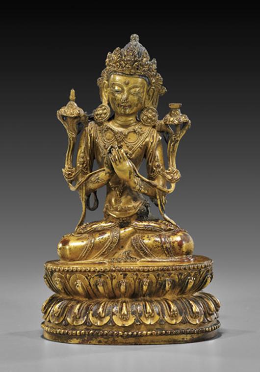 Highly important early 15th-century Ming Dynasty gilt bronze Bodhisattva of Manjushri. Six-character Yongle mark under base. Estimate: $200,000-$300,000. I.M. Chait image.