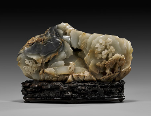 18th-century Qianlong Period celadon with gray-black jade carved mountain. Estimate: $45,000-$55,000. I.M. Chait image.