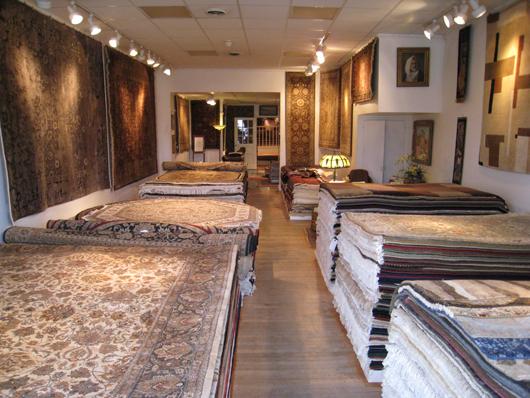 Main showroom of Aaron's Oriental Rug Gallery. Aaron's Oriental Rug Gallery image.
