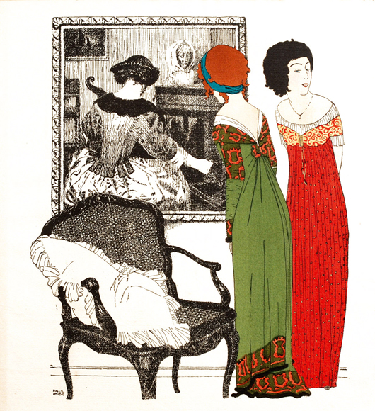 Paul Iribe (1883-1935), 'Les Robes de Paul Poiret Paris,' 1908, published privately, limited edition of 250, containing 10 engraved illustrations picturing women's dresses by the French fashion designer. Estimate: 2,600-4,500 euros. Little Nemo image.