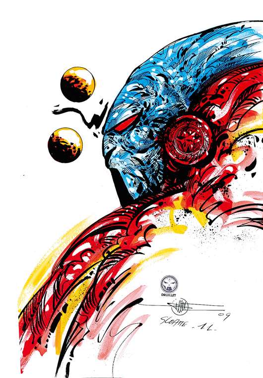 Philippe Druillet, 'Sloane 11,' Mixed technique illustration on cardboard, signed and dated 2009. 35 x 52,5 cm, 14 x 21 inches. Estimate: 2,500-5000 euros. Little Nemo image.