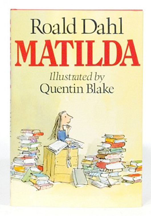 Quentin Blake is famous for illustrating Roald Dahl books, including 'Matilda.' Image courtesy LiveAuctioneers.com and Sydney Rare Book Auctions.