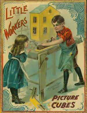 The cover art on a set of early 1900s children's picture blocks. Winterthur image.