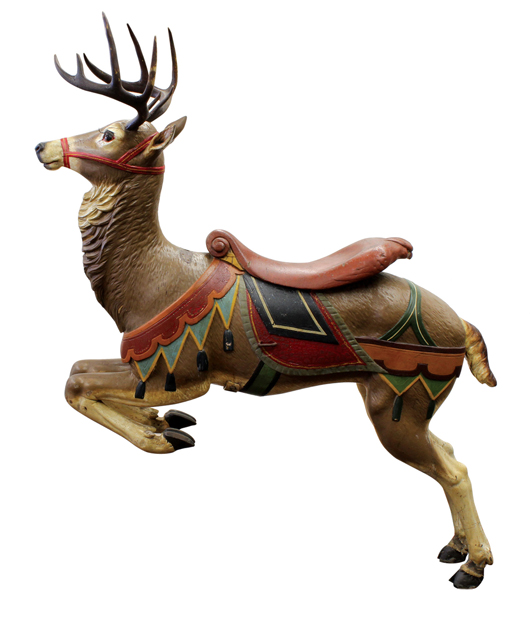 Created by Gustav Dentzel of Philadelphia, this beautiful carousel reindeer sold for $14,200. Clars Auction Gallery image.