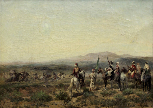 This oil on canvas by French artist Georges Washington (1827-1910) titled 'Orientalist Battle Scene' surpassed its high estimate selling for $21,420. Clars Auction Gallery image.