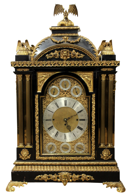 This Georgian-style gilt bronze mounted bracket clock sold for $59,500. Clars Auction Gallery image.