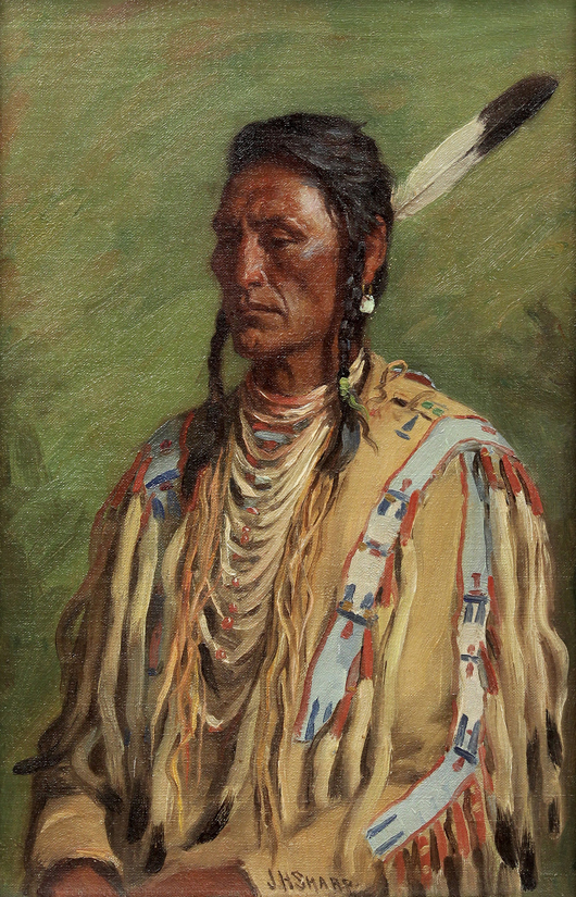 Topping the fine art category overall was this impressive work by Joseph Henry Sharp (American, 1859-1953) titled 'Does Everything – Crow Chief, Custer and Reno Scout,' which soared past its high estimate selling for $77,350. Clars Auction Gallery image.