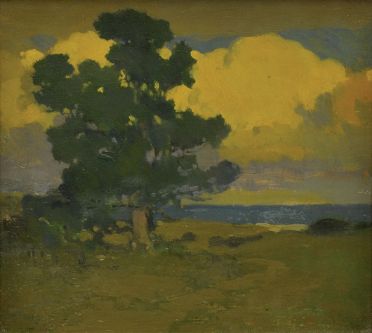 California artist Arthur Frank Mathews (1860-1945) came in second place in paintings with his oil on board titled 'Afterglow at the Seashore,' which surpassed its high estimate achieving $38,675. Clars Auction Gallery image.