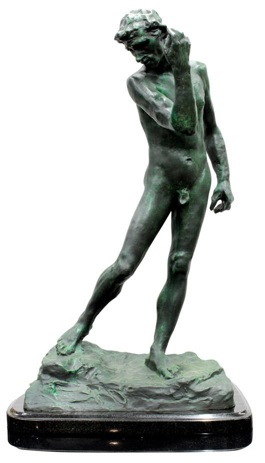 Topping the bronze offerings was this after-Auguste Rodin (French, 1840-1917) bronze, which achieved an incredible $59,500, almost 10 times its high estimate. Clars Auction Gallery image.
