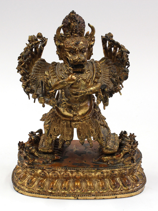 Furthering the remarkable Asian prices was this Himalayan gilt bronze figural group of Yamantaka Vajrabhairava Ekavira, 19th century, which sold for $248,300. Clars Auction Gallery image.