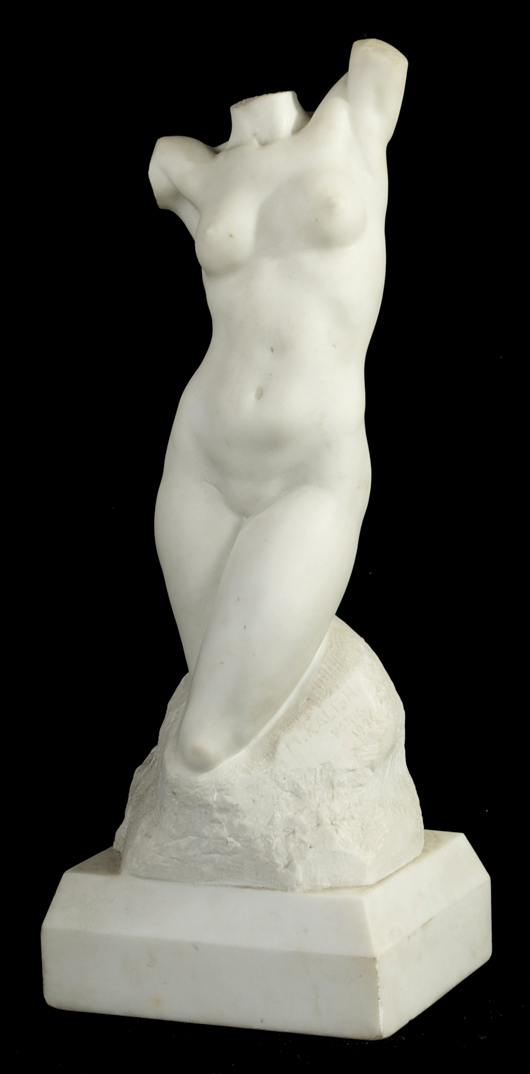 Max Kalish (1891-1945), 'Female Torso,' marble. Gray's Auctioneers image.