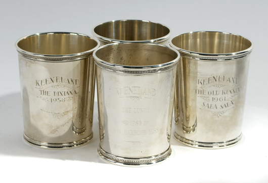 Four sterling silver julep cups, 20th century, by Mark J. Scearce, Shelbyville, Ky. Gray's Auctioneers image.