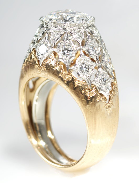 An 18K rose and white gold diamond ring by Mario Buccellati. Gray's Auctioneers image.