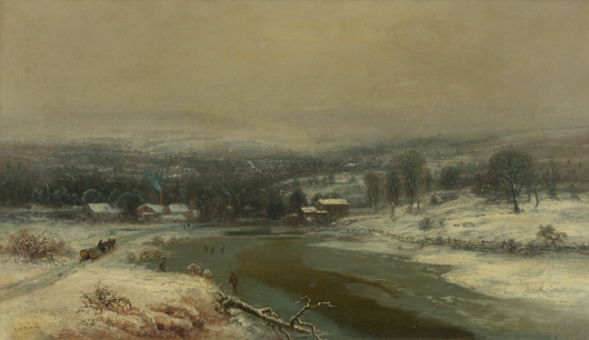 George Durrie (1820-1863), 'Winter Landscape with River,' oil on board. Gray's Auctioneers image.