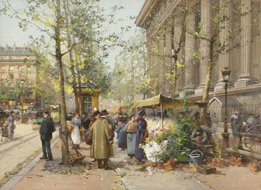 Eugene Galien-Laloue (1854-1941), 'Paris Street Market Scene,' watercolor gouache on paper. Gray's Auctioneers image.
