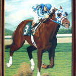 Painting of Secretariat, signed Johnson, circa 1975. Image courtesy LiveAuctioneers.com Archive and Ro Gallery Auctions.