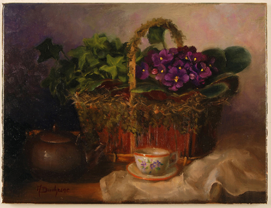 'African Violets' by Duchesne Mireille, oil 11 1/2 x 15 1/2. Opening bid: $400. Image courtesy of Salmagundi Club.