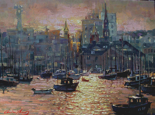 Zhang, 'New London Harbor Sunset,' oil on canvas, 18 x 24 inches. Opening bid:  $1,700. Image courtesy of Salmagundi Club.