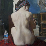 'Model's Break' by Marc Chatov, oil 40 x 30 inches. Opening bid: $3,400. Image courtesy of Salmagundi Club.