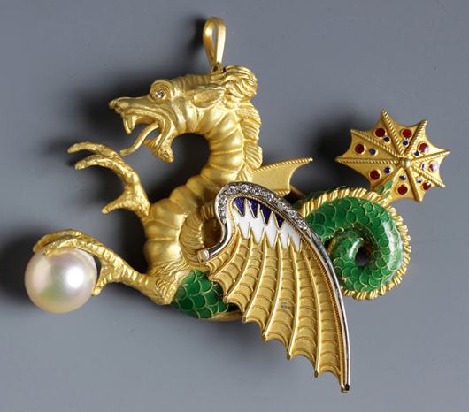 Tiffany dragon pin with pearl, one of more that 100 pieces of fine estate jewelry to be sold. Cottone Auctions image.