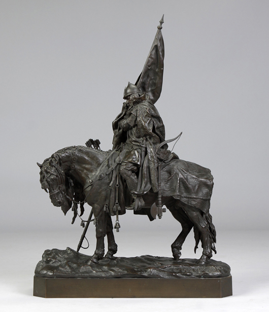 Bronze group by Russian artist Evgeni Lanceray (1848-1886). Cottone Auctions image.