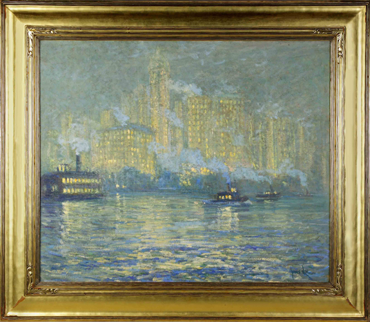 Luminous and impressionist rendering of New York City by Norwegian-born artist Jonas Lie. Cottone Auctions image.