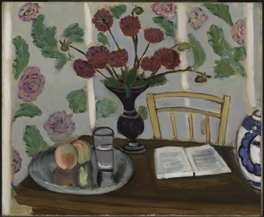 Henri Matisse (French, 1869-1954), 'Still Life, Bouquet of Dahlias and White Book,' 1923, oil on canvas, 19 7/8 x 24 1/16 inches (50.5 x 61.1 cm), the Baltimore Museum of Art: the Cone Collection, formed by Dr. Claribel Cone and Miss Etta Cone of Baltimore, Md., BMA 1950.249. Photographer: Mitro Hood.
