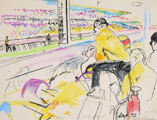Leroy Neiman (American 1921-2012), 'Rick in the Pit, 1987,' mixed media on paper, 16 x 21 1/2 inches, signed, titled and dated in pencil lower right. Estimate: $6,000-$9,000. Michaan's Auctions image.
