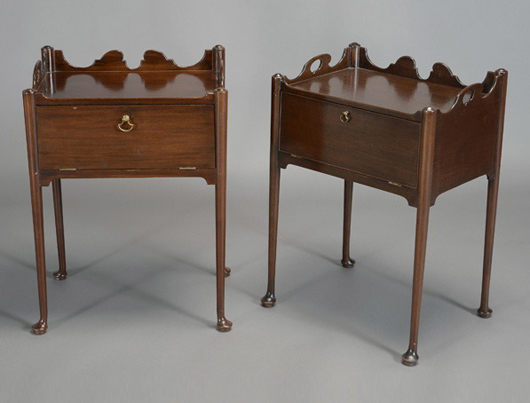 Pair of Queen Anne-style mahogany night stands with fall fronts, provenance: Elizabeth F. Crocker Estate. Estimate: $500-$700. Michaan's Auctions image.