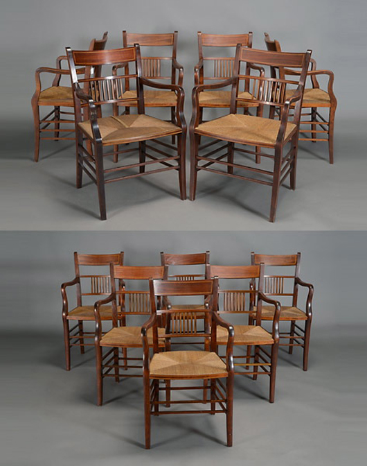 Set of 12 English mahogany chairs. Estimate: $800-$1,200. Michaan's Auctions image.