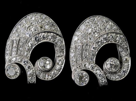 Pair of diamond, platinum double clips. Estimate: $3,000-$5,000. Michaan's Auctions image.
