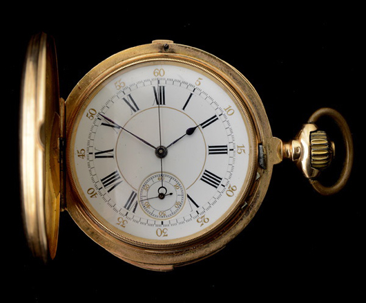 Eighteen-karat yellow gold repeater chronograph pocket watch. Estimate: $2,000-$3,000. Michaan's Auctions image.