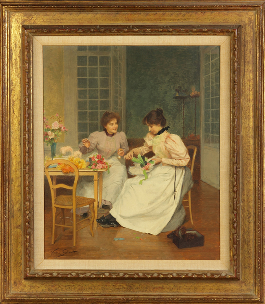 Original oil on board figural painting by Victor Gilbert (French, 1847-1933) titled 'The Milliners.' Cottone Auctions image.