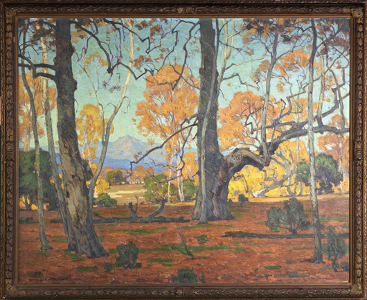 Original oil painting by William Wendt (Calif./Ill., 1865-1946), titled 'Patriarchs of the Grove.' Cottone Auctions image.