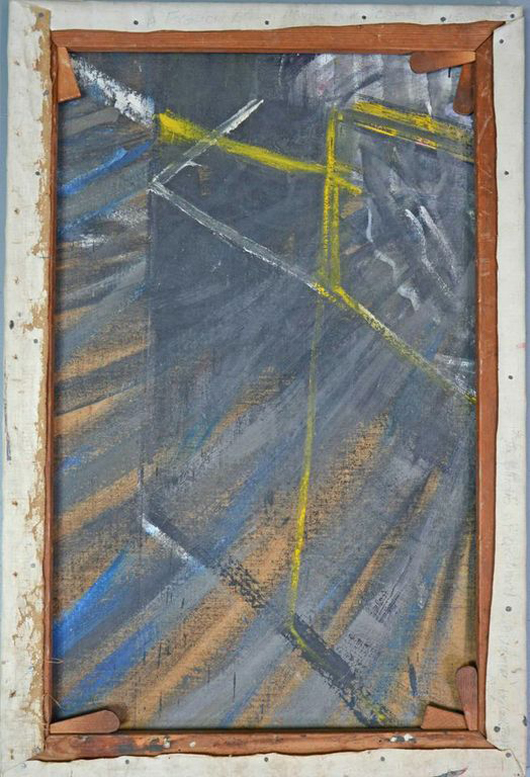 The reverse of a painting by the late commercial artist Lewis Todd, revealing that it was painted on a fragment of a painting by Francis Bacon. It will be sold by Ewbank Clarke Gammon Wellers in Woking, Surrey on March 20. Image courtesy Ewbank Clarke Gammon Wellers.