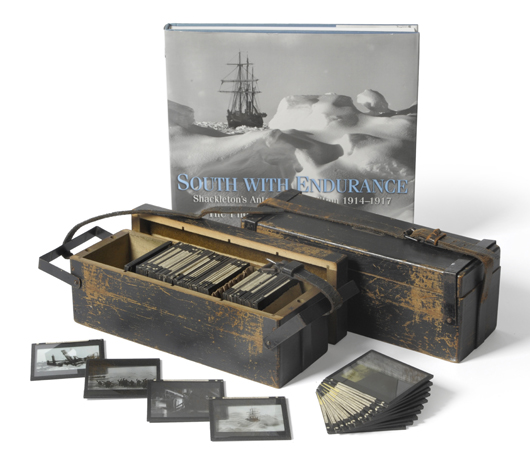 A set of 135 photographic magic lantern slides depicting Shackleton's Antarctic Expedition of 1914-1917, from photographs taken by Frank Hurley, which realized £4,500 ($6,830) at Tennants in Leyburn Yorkshire on Feb. 22. Image courtesy Tennants.
