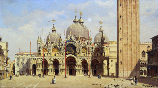 This oil on panel by Antonietta Brandeis (1849-1910) depicting the Piazza San Marco (View of St. Mark's Square, Venice looking toward the cathedral, realized £8,800 ($13,375) at Canterbury Auction Galleries on Feb. 12. Image courtesy Canterbury Auction Galleries.