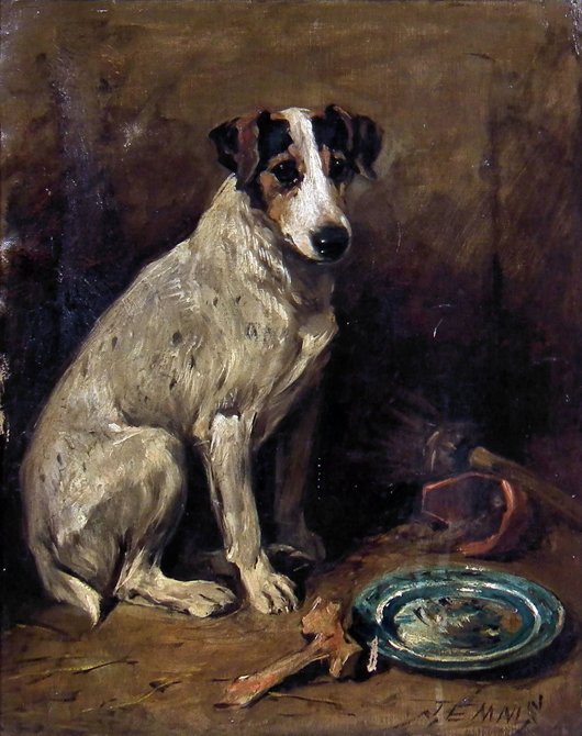 An oil on canvas study of a seated fox terrier by John Emms (1843-1912) that fetched £4,600 ($6,840) at Canterbury Auction Galleries on Feb. 12. Image courtesy Canterbury Auction Galleries.