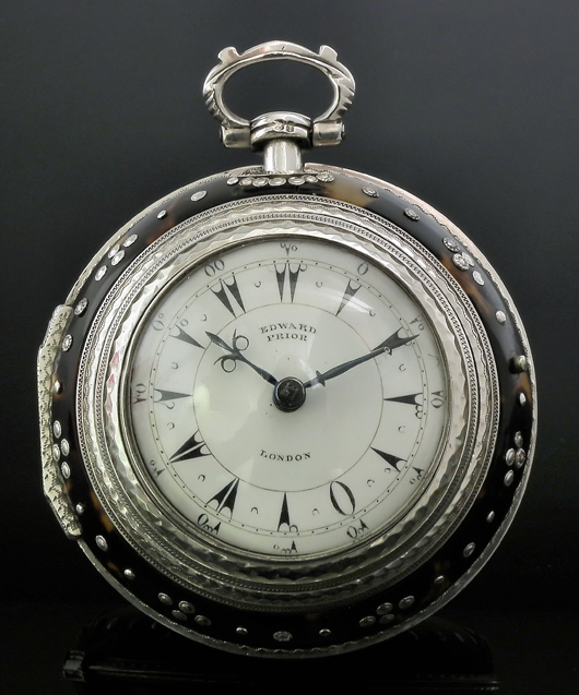 A bid of £3,100 ($4,700) secured this good 19th century silver and tortoiseshell covered triple-cased verge pocket watch made for the Turkish market by Edward Prior, London, 1866, which was one of the highlights of the Canterbury Auction Galleries sale on Feb. 12. Image courtesy Canterbury Auction Galleries.