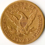 Reverse of 1893 Carson City Liberty Half Eagle gold coin. Image courtesy of Wikimedia Commons.