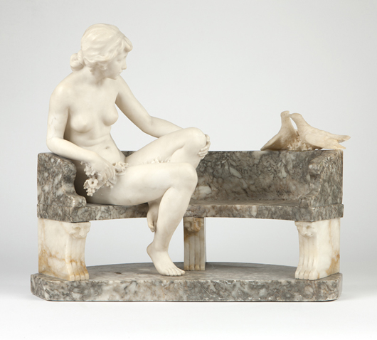 This charming work in marble by Vittorio Caradossi is expected to find a buyer for $10,000 to $15,000. John Moran Auctioneers image.